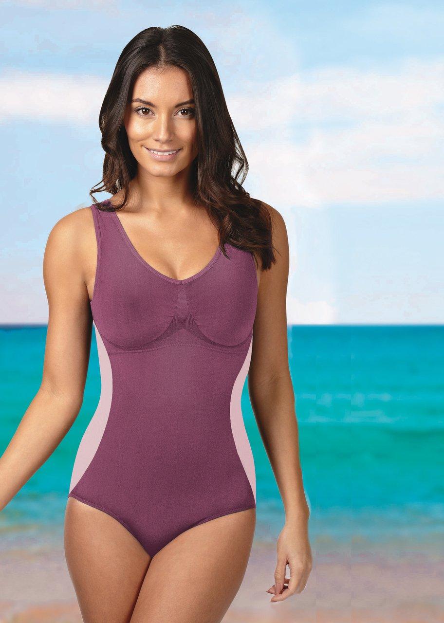 Ladies Slimming Swimsuit Bathing Suit in Color: Grape (Purple) New! #D631