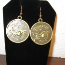 Unique Zodiac Taurus Coin Earrings 1.75 in New! #D927