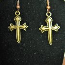 Beautiful Golden Bronze Cross Earrings 1.5 in New! #D933