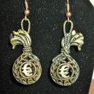 Beautiful Golden Bronze GBP Money Bag Charm Earrings 2 in New! #D935