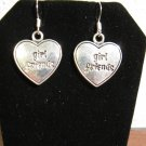 Lovely Girl Friends Heart Charm Earrings 1.5 in New! #D910