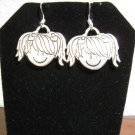 Adorable Girl Face Charm Earrings 1.5 in New! #D909