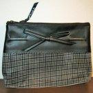 Black Plaid Cosmetic Makeup Bag Clutch Purse by Signature Club A New! #D1001