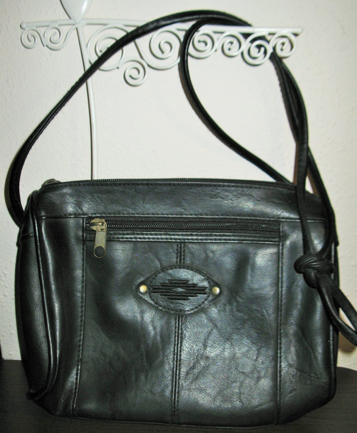 Black Leather Purse Shoulder Handbag New! #D995