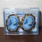 Gold Blue Cameo Lady Pierced Earrings Beautiful & New #D943