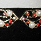 Unique Gold Lip Design Earrings Pearls & Rhinestones New! #D900