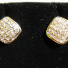 Stunning Gold CZ Square Stud Earrings New! #D896