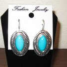 Beautiful Blue Turquoise Oval Leverback Earrings 1.5 in New! #D893