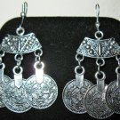 Intricate Design Silver Chandelier Coin Earrings New! #D890