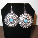 Beautiful Round Silver Turquoise Filigree Earrings New! #D881