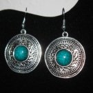 Unique Silver Aztec Design Turquoise Earrings New! #D880