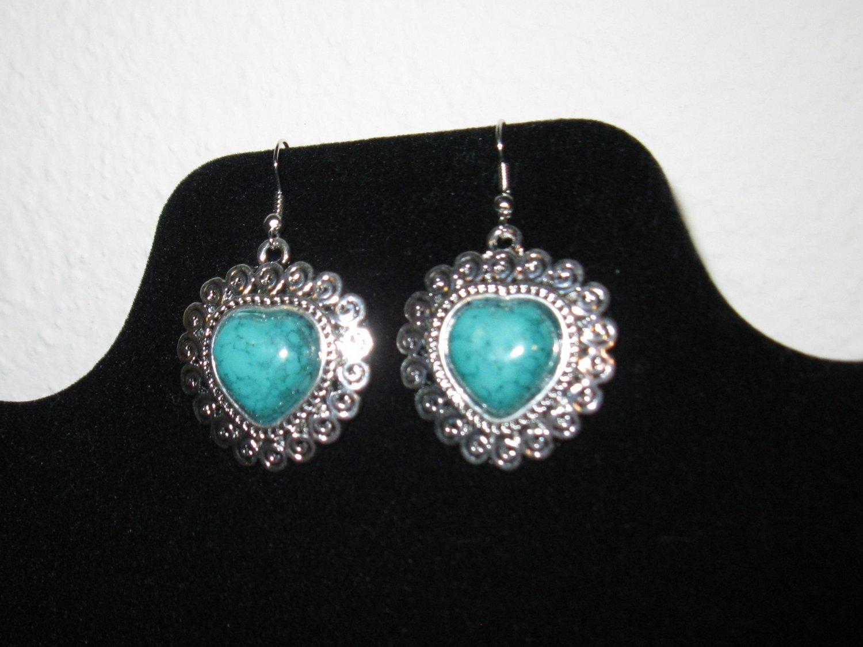 Stunning Silver Filigree Turquoise Heart Earrings New! #D879