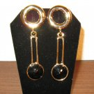 Sexy Long Gold Pierced Black Rhinestone Earrings 2.75 in New! #D876