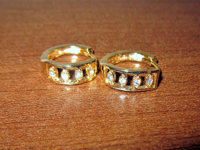Gorgeous Gold CZ Hoop Pierced Earrings New! #D1018