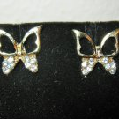 Pretty Gold Butterfly with Clear Rhinestones Stud Earrings New! #D1017
