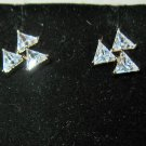 Sizzling Gold Triple CZ Triangle Stud Earrings New! #D1016