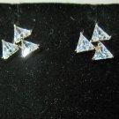 Sizzling Gold Triple CZ Triangle Stud Earrings New! #D1016