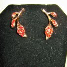 Lovely Red Ruby Leaf Style Earrings New! #D1013
