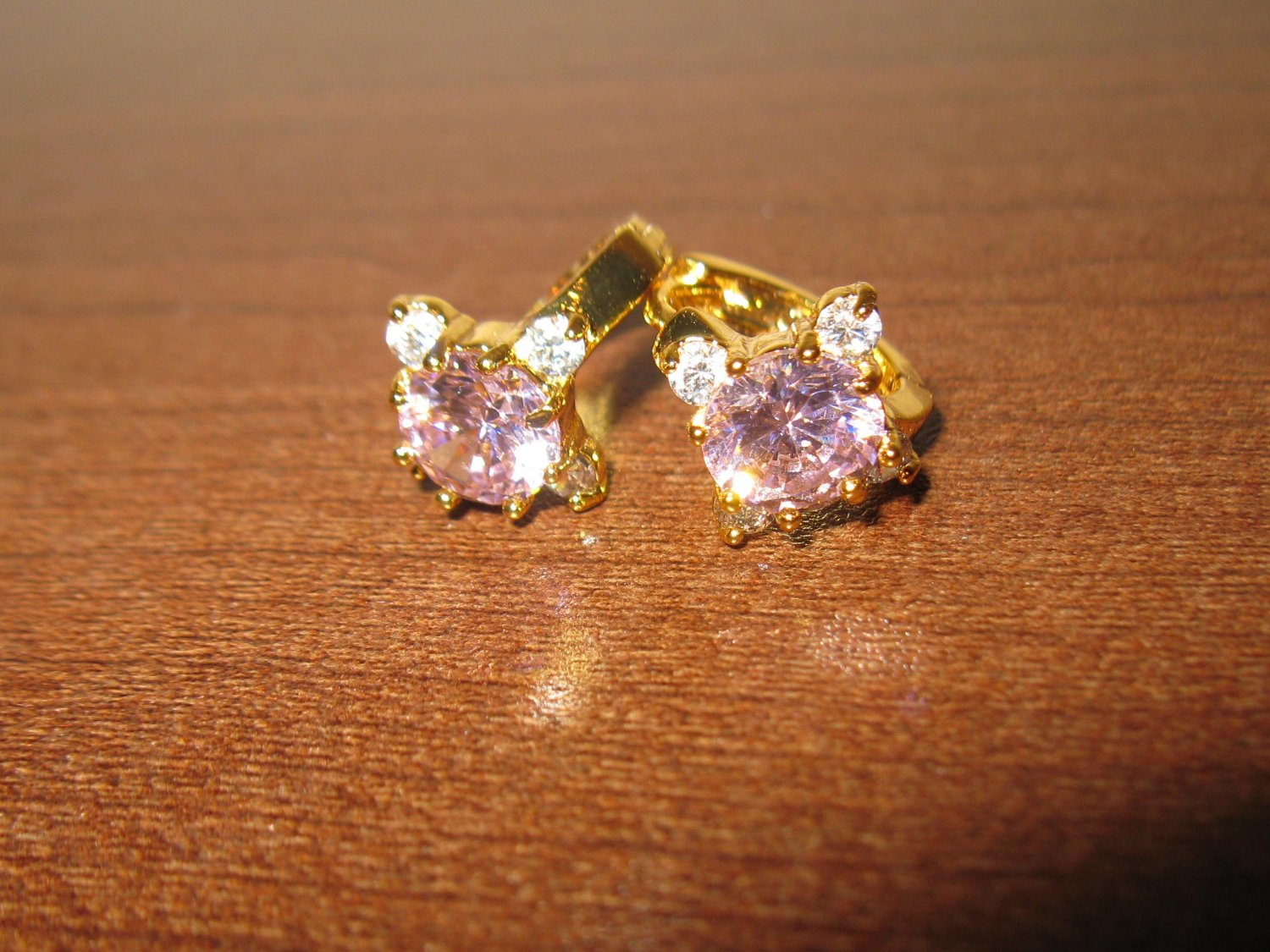 Sizzling Pink & White Sapphire Hoop Earrings New! #D1011