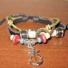 Black Leather 3 Layer Beaded Anchor Charm Punk Surfer Bracelet New & Hot #D868