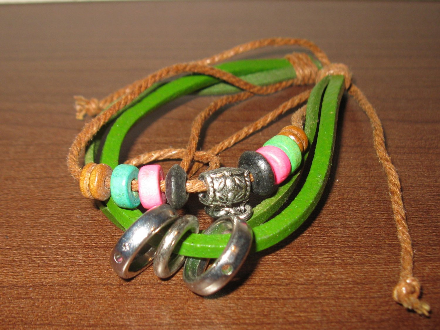 Green Leather 3 Layer Punk Surfer Colorful Bead Charm Bracelet New & HOT #D867