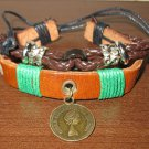 Brown Leather 2 Layer Punk Surfer Coin Charm Bracelet New & HOT #D864