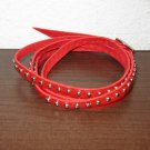 Red Leather Studded Wrap Buckle Style Punk Surfer Bracelet New & Hot #D860