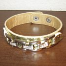 Gold Metallic Rhinestone Link Punk Surfer Bracelet HOT! #D853