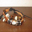 Brown Leather 3 Layer Beaded Charm Punk Surfer Bracelet New & Hot #D842