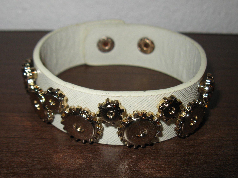 Cream Leather Gear Design Punk Bracelet New #D818