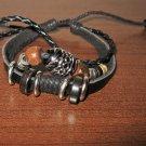 Black Leather 3 Layer Beaded Sliding Bead Punk Surfer Bracelet New & Hot #D871