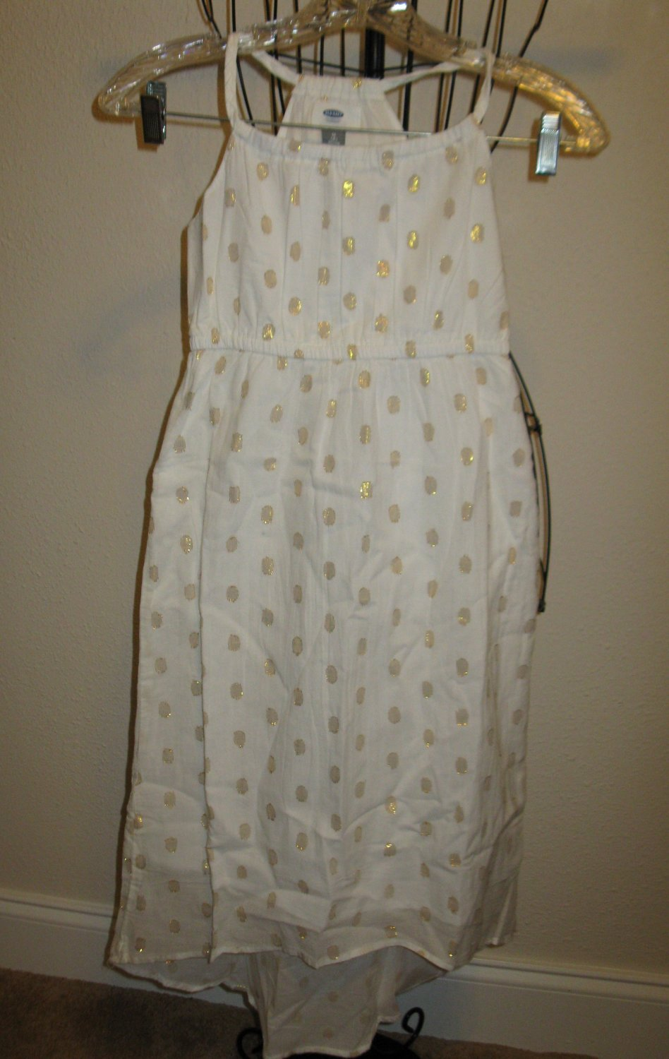 White with Gold Dress by Old Navy Girl Size 8 Regular New! #T1152