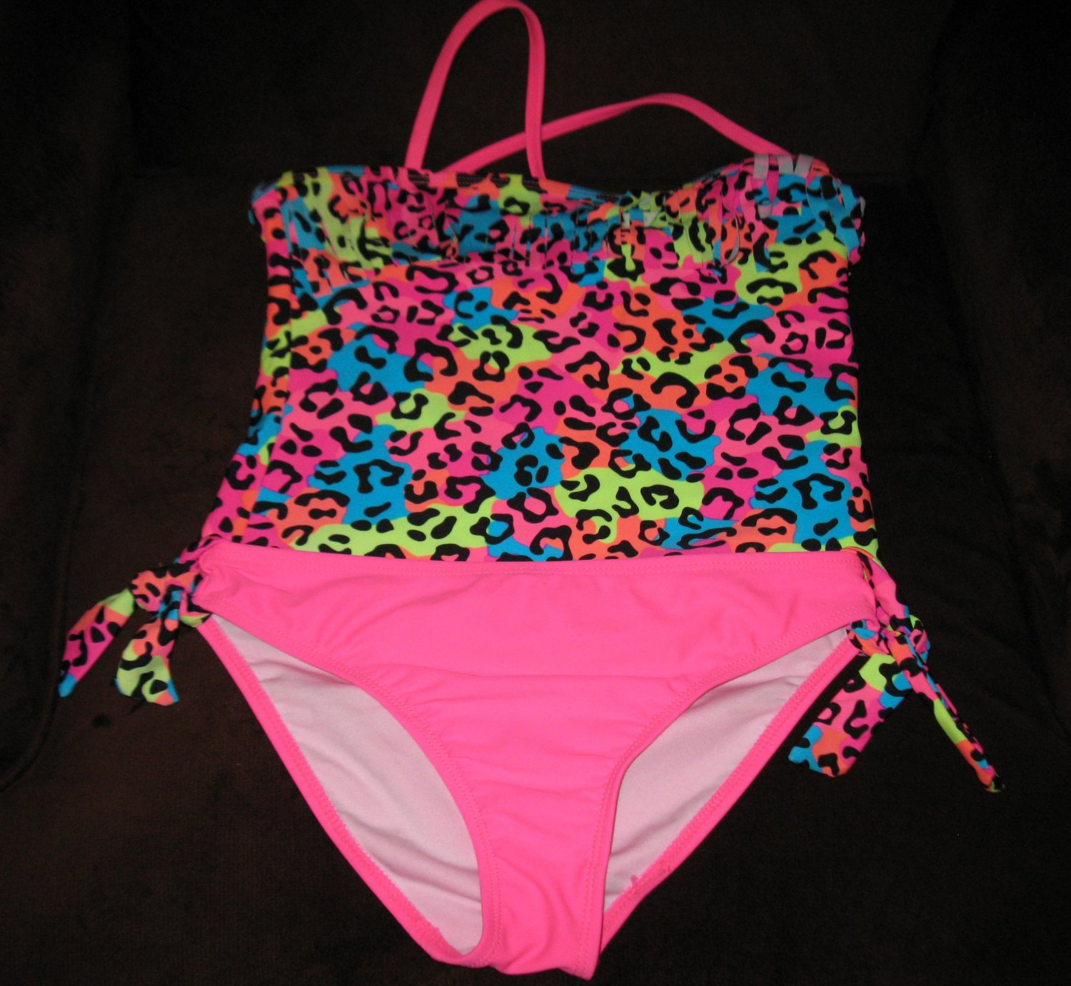 Pink Animal Print 2 pc Swimsuit by St Tropez Girl Size 10 New! T1154