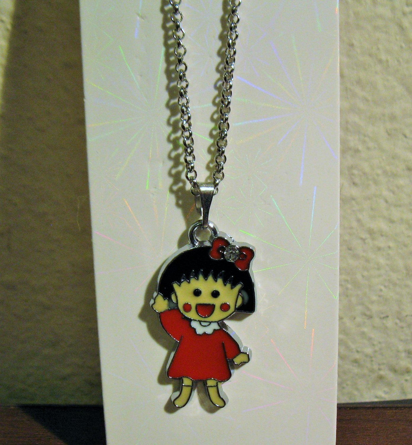 Adorable Red Dress Girl Silver Necklace 16 in New! #D1024