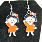 Adorable Little Red Dress Girl Silver Earrings New! #D975