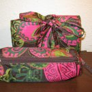 Black & Pink Floral 2 pc Brush and Cosmetic Makeup Bag New! #X272