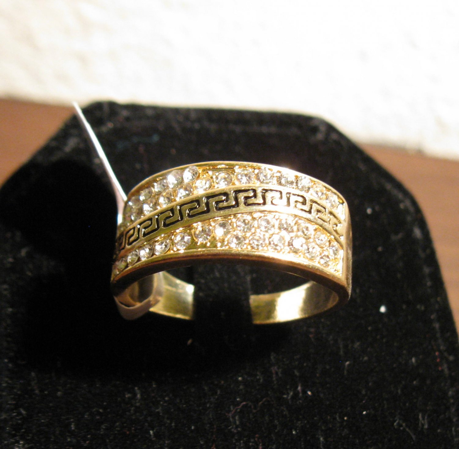 Beautiful Wide CZ Cluster Greek Key Band Ring Unisex Size 10 New! #D967