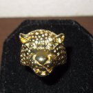 Exotic Wide Gold Leopard Head Ring Unisex Size 9.5 New! #D958
