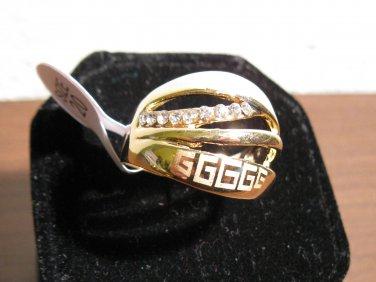 Beautiful Wide CZ Greek Key Ring Unisex Size 10.5 New! #D965