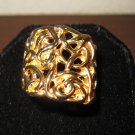 Unique Polished Gold Scroll Ring Unisex Size 9 New! #D966