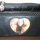 Black Lambskin Leather Brighton Zippered Coin Purse New #K46
