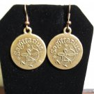 Beautiful Golden Bronze Sagittarius Zodiac Coin Charm Earrings 1.5 in New! #D931