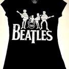 The Beatles Silver Metalic Print Black Girl T-Shirt Top Size S