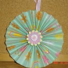 "Handmade Paper Rosette Ornament-Green Pastel Floral Print-4"""