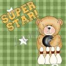 Handmade Ceramic Magnet-Superstar Bowling Bear-Green