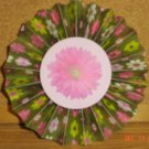 "Handmade Paper Rosette Ornament-Colorful Flowers in Green-4"""