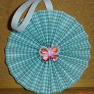 Handmade Paper Rosette Ornament-Butterfly and Gingham-5""