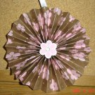 Handmade Paper Rosette Hanging or Ornament-Pink and Brown Floral-4""