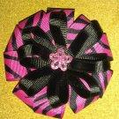 Pink Zebra Stripe Layered Hair Clip
