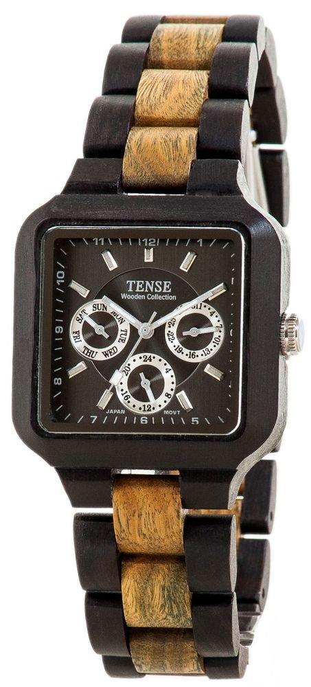 Tense Summit Dark/Green Sandalwood Watch - Model B7305DG- Natural Wood Timepiece